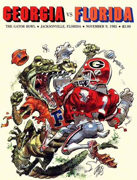 Vintage Poster Florida Football Georgia Dawgs Georgia Football