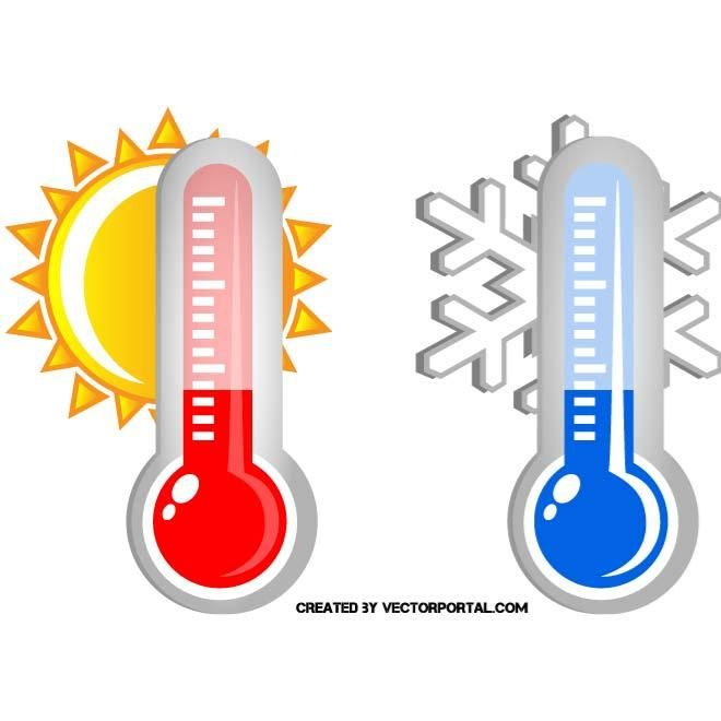 Hot And Cold Weather Vector Illustration.