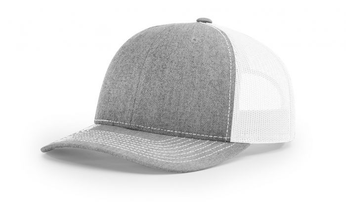 b84e9d73340 Heather Grey White - 112 Trucker Mesh Snapback Adjustable Hat by Richardson  Caps