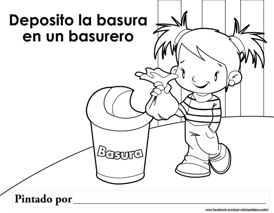 Basurero Kids English Coloring Pages To Print Children Illustration