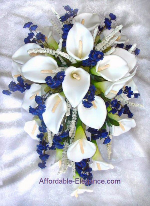 Image Detail For Navy Marine Blue White Calla Lily Lilies Cascade Bouquet Silk Wedding