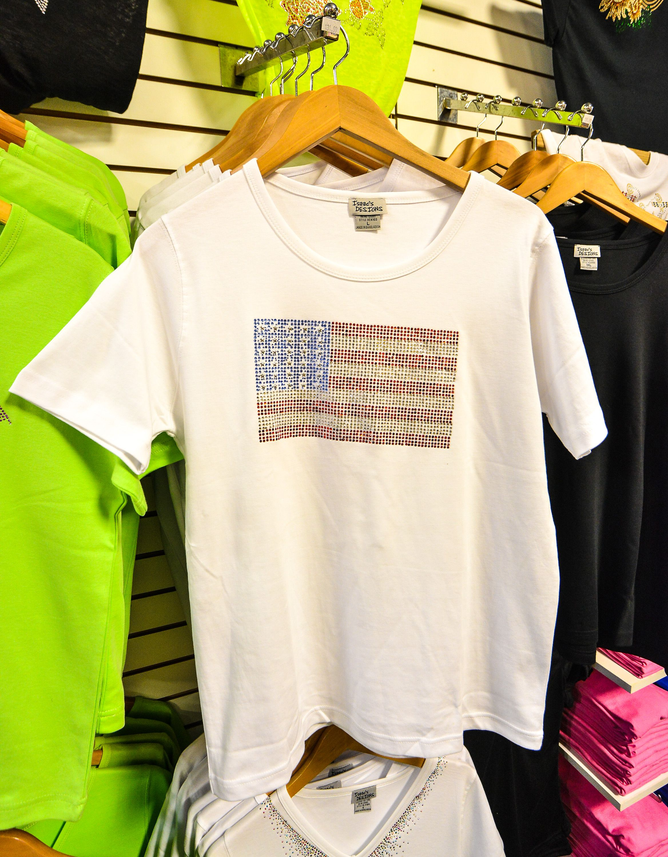 Just in time for the July 4th holiday..Bling flag shirt from Leanny's Boutique.