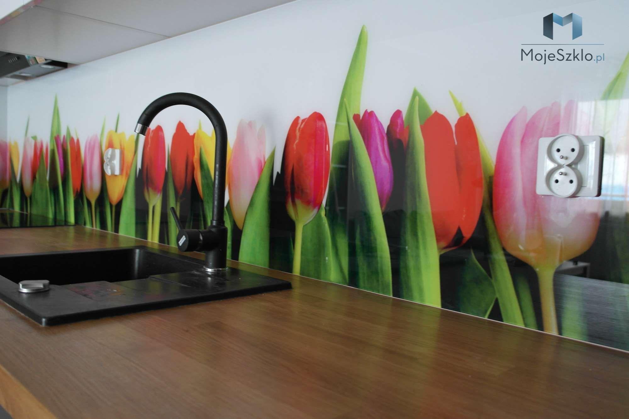 Szklo Z Grafika Tulipany