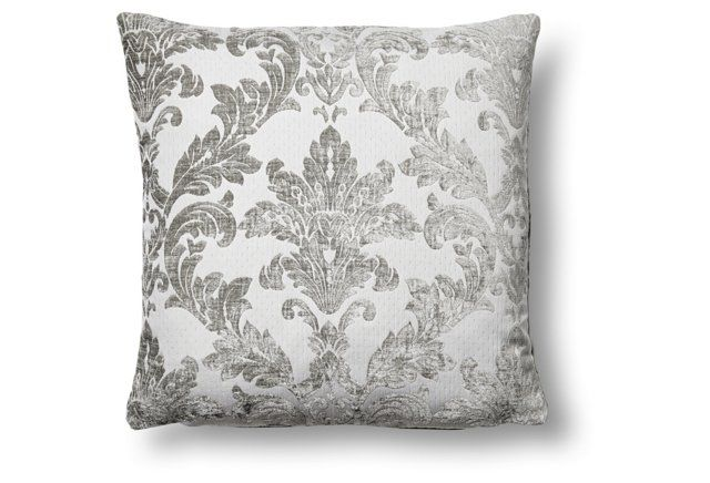 Marina 17x17 Embroidered Pillow, Gray