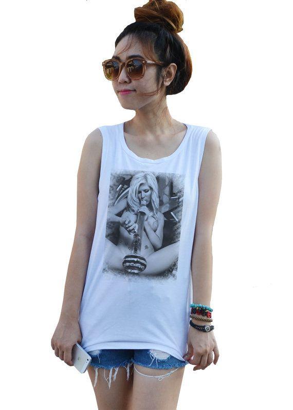 f2abd4a3881 Girl smoking Bong Dope T-SHIRT pin up bong ganja weed Artist Tank top  T-Shirt Tops White Sexy Summer Women Girl women s Shirt Size XS
