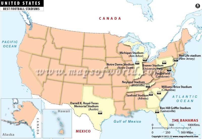 Map Of The Day Best Football Stadiums In USA Map Of The - Michigan on the us map