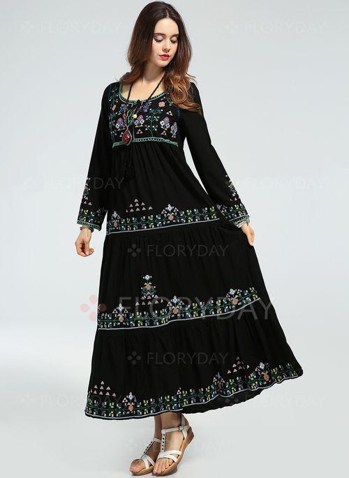 Vestidos - $73.85 - Vestidos Algodón Floral Hasta los tobillos Manga larga (1955111725)