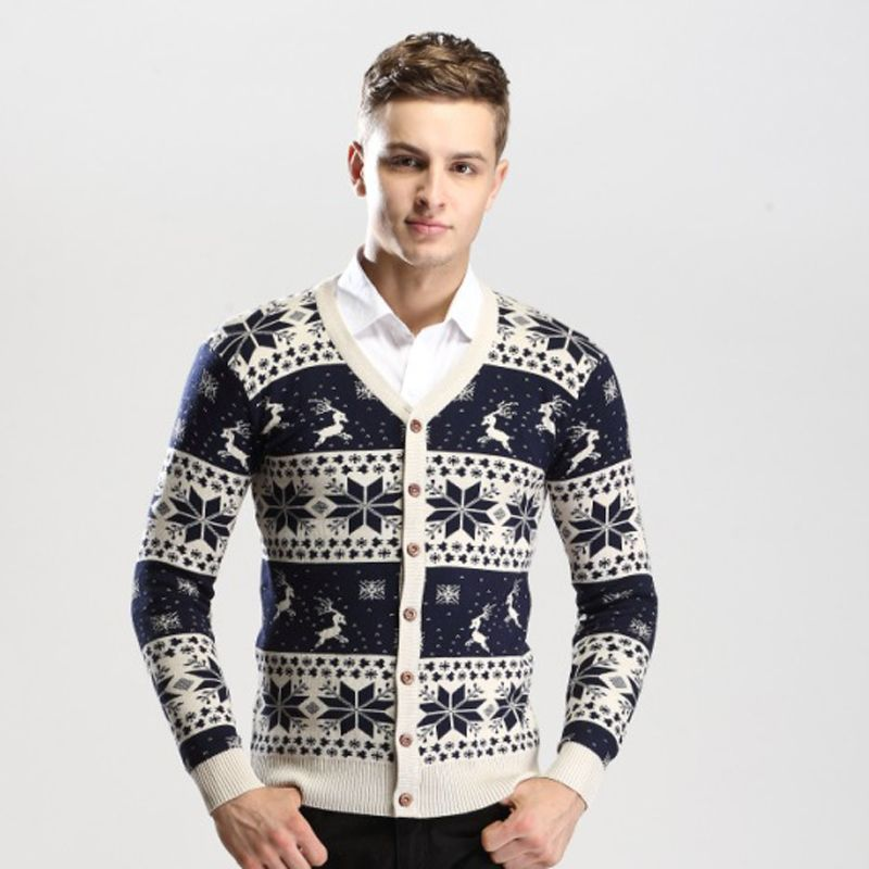 2016 Men's Christmas Cardigan Sweater Boys Slim Knitted Cardigans ...