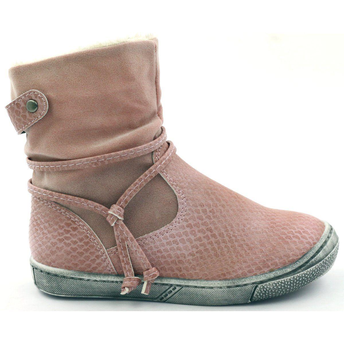 American Club Buty Zimowe Kozaczki Rozowe Na Suwak American16183 Boots Shoes Ugg Boots