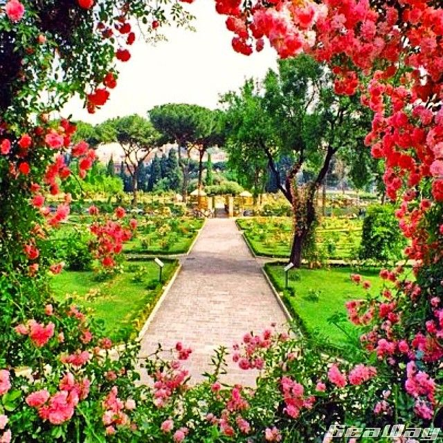 Geaway Incoming On Instagram The Romantic Rose Garden That Comes Alive In Spring Located In Rome Italy Most Beautiful Gardens Beautiful Gardens Rose Garden