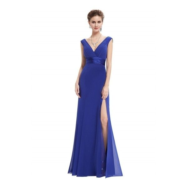 Stylish Deep V High Slit Slim Fit Prom Dress ($57) ❤ liked on ...