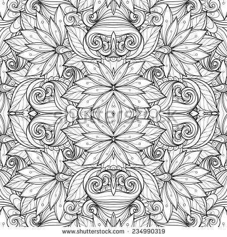 Seamless Monochrome Floral Pattern Hand Drawn Texture With Flowers