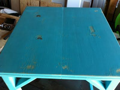 The Quaint Cottage: How to Make a Brand New Table Look Weathered
