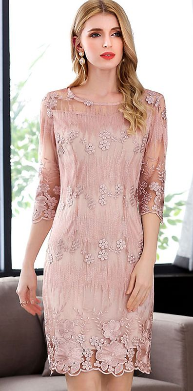 Elegant Embroidery O-Neck 3/4 Sleeve Bodycon Dress | Chique ...