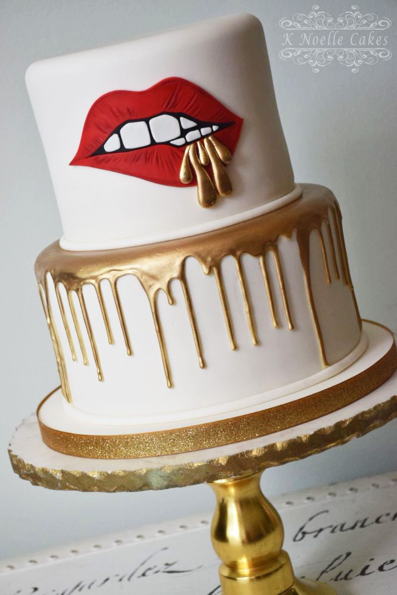 Red Lips With Gold Drizzle By K Noelle Cakes Make Up Cake Red