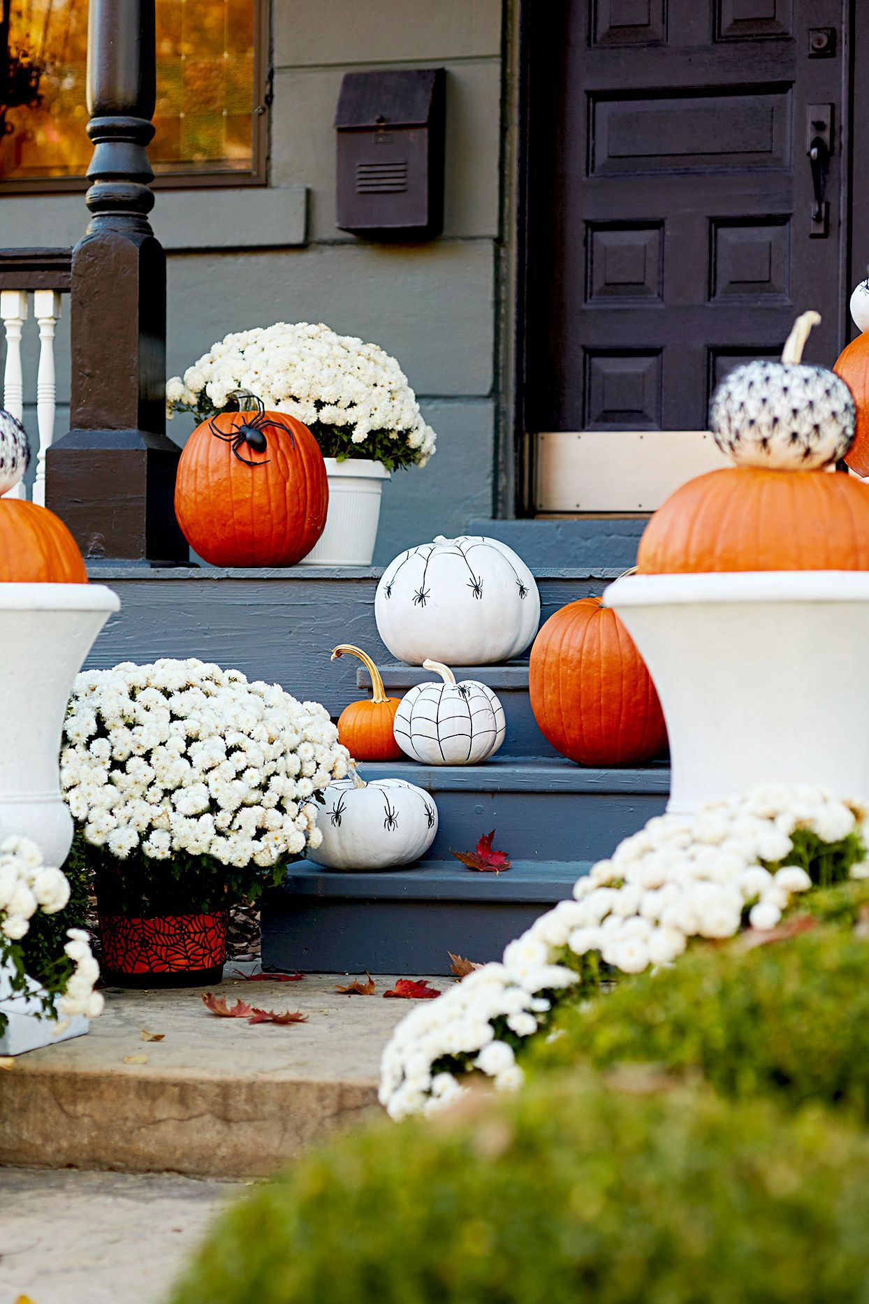 Beautiful Pumpkin Decorating Ideas To Get Your Home Ready For Fall Fall Decorations Porch Mums In Pumpkins Porch Decorating