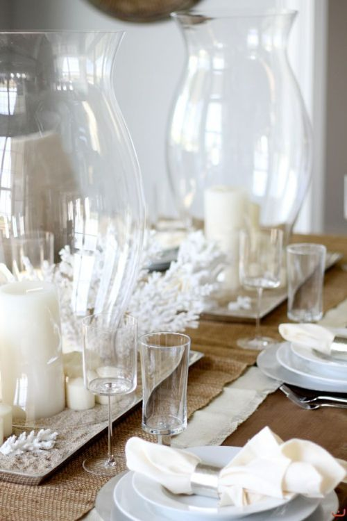Simple White Coastal Table Decor