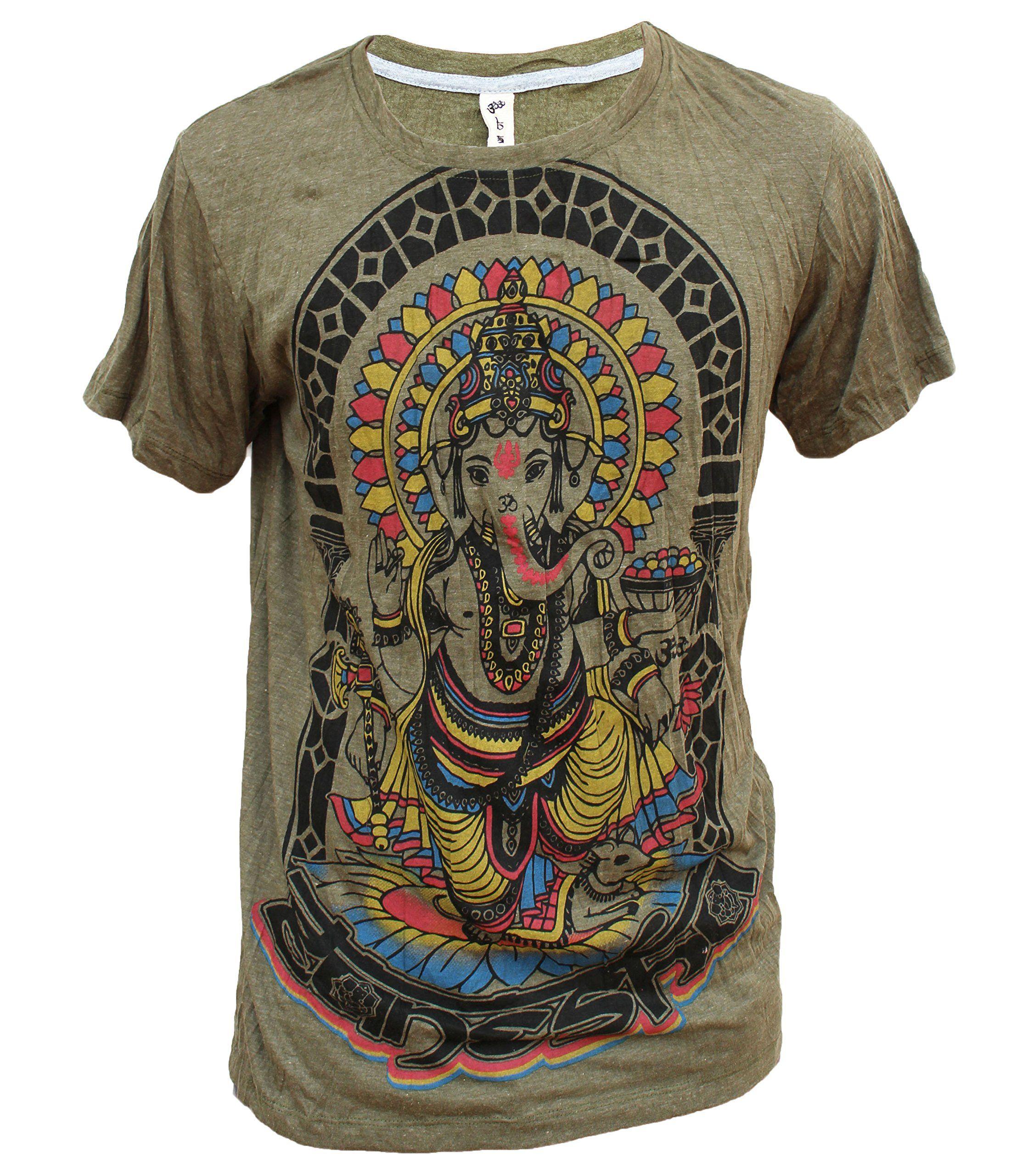 Yoga Shirts - Omtimistic Men's Hindu Ganesh 'Elephant God & Om Symbol' T- Shirt (X-Large, Green). 100% Cotton. Photo Reference: Size M. Machine wash  40 °C, ...