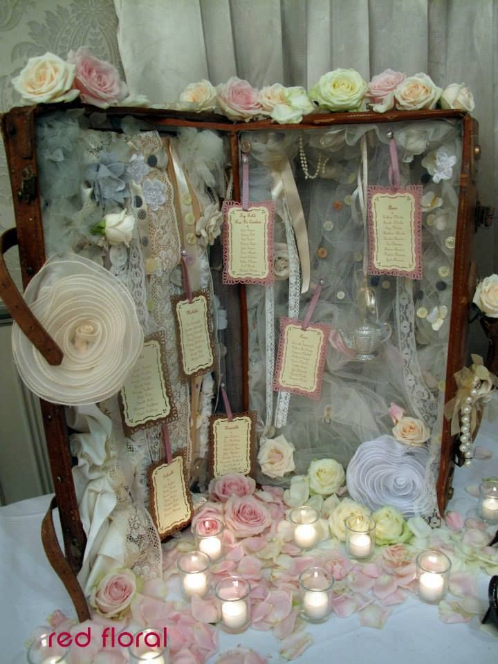 Table Cards Hang On Ribbons Among Of Lace Roses And Candles At A