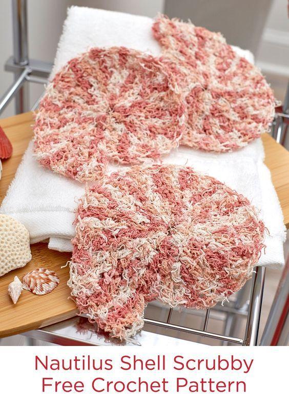 Nautilus Shell Scrubby Free Crochet Pattern In Red Heart Scrubby
