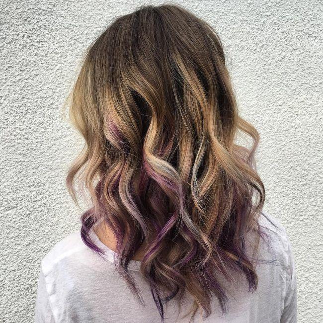 Deep Brown With Purple Peekaboos For Just A Splash Of Color And Fun Brown Color Deep Fu In 2020 Purple Highlights Brown Hair Underlights Hair Peekaboo Hair
