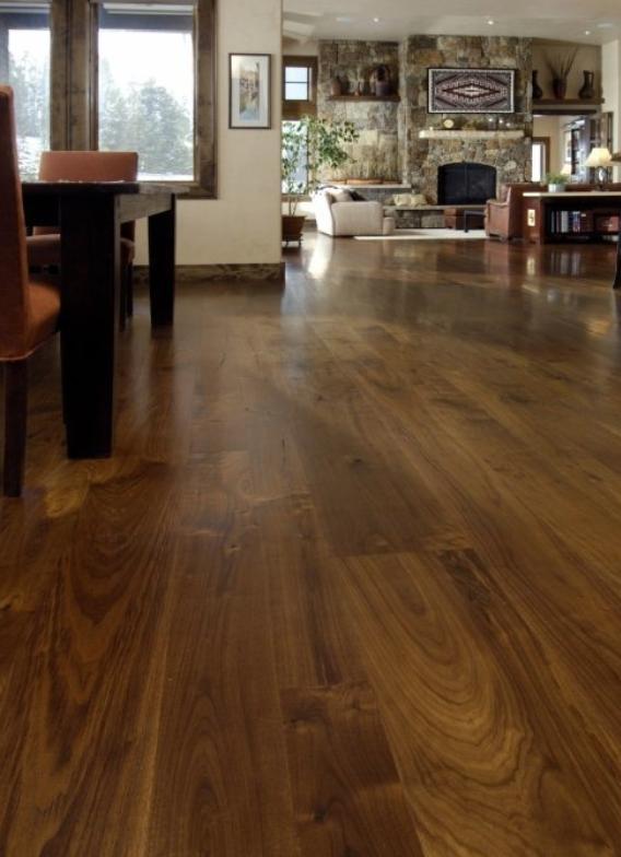 Colorado Home With Walnut Flooring Walnut Is A Sumptuous Dark Wood Floor With Rich Chocolate Hues Surprising A Flooring Wide Plank Flooring Hardwood Floors