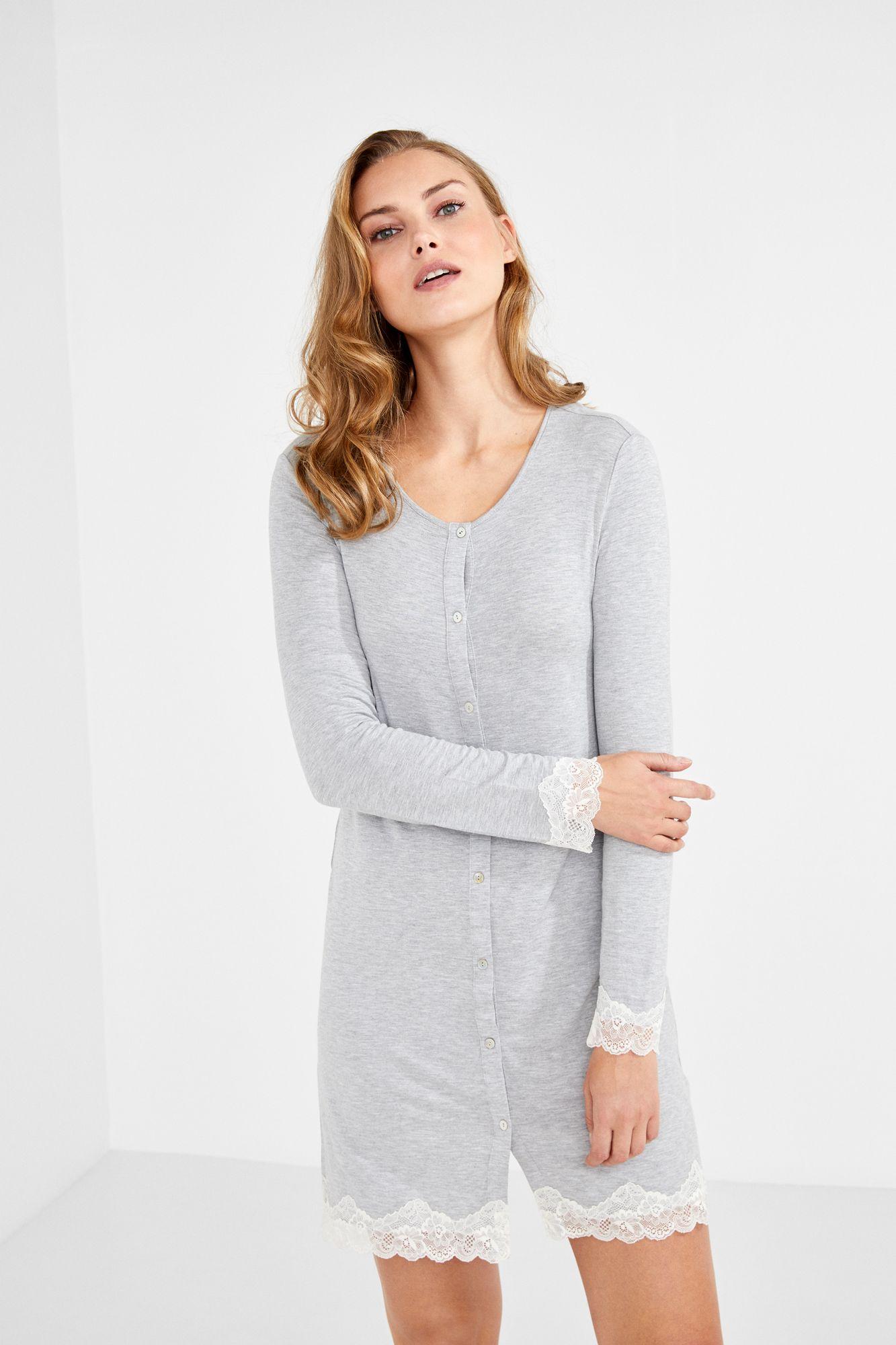 08258df4b6 Women secret - Long-sleeved buttoned nightgown
