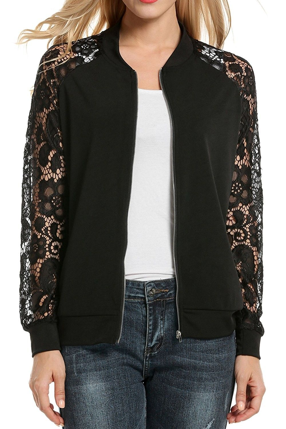 Women Casual Lace Patchwork Zip Up Short Slim Fit Bomber Jacket Black Cv12nqyi46w Slim Fit Bomber Jacket Womens Jackets Casual Casual Lace [ 1500 x 1000 Pixel ]
