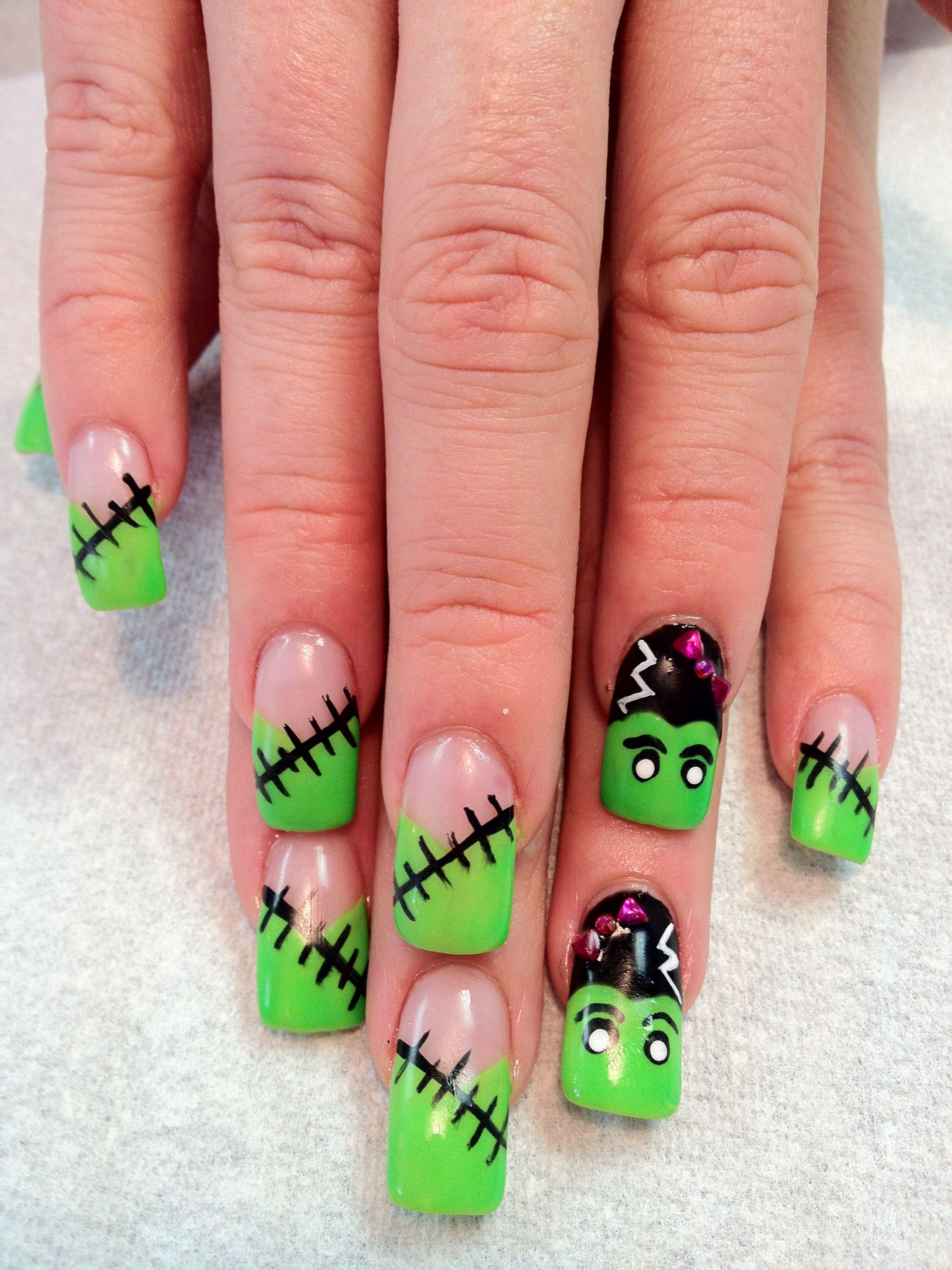 Gelish Halloween Frankenstein nails | Nails | Pinterest | Gelish ...