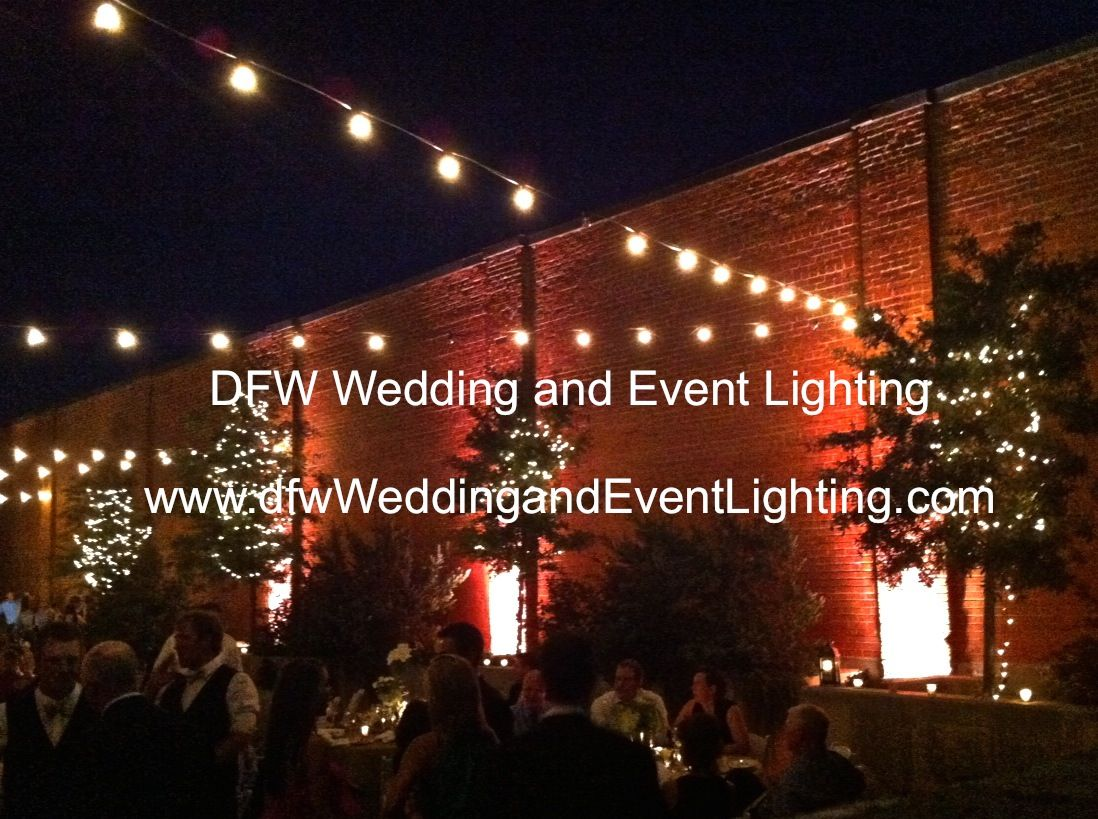 Garden wedding decorations night  Outdoor uplighting and string lights  use on the docks  Urban