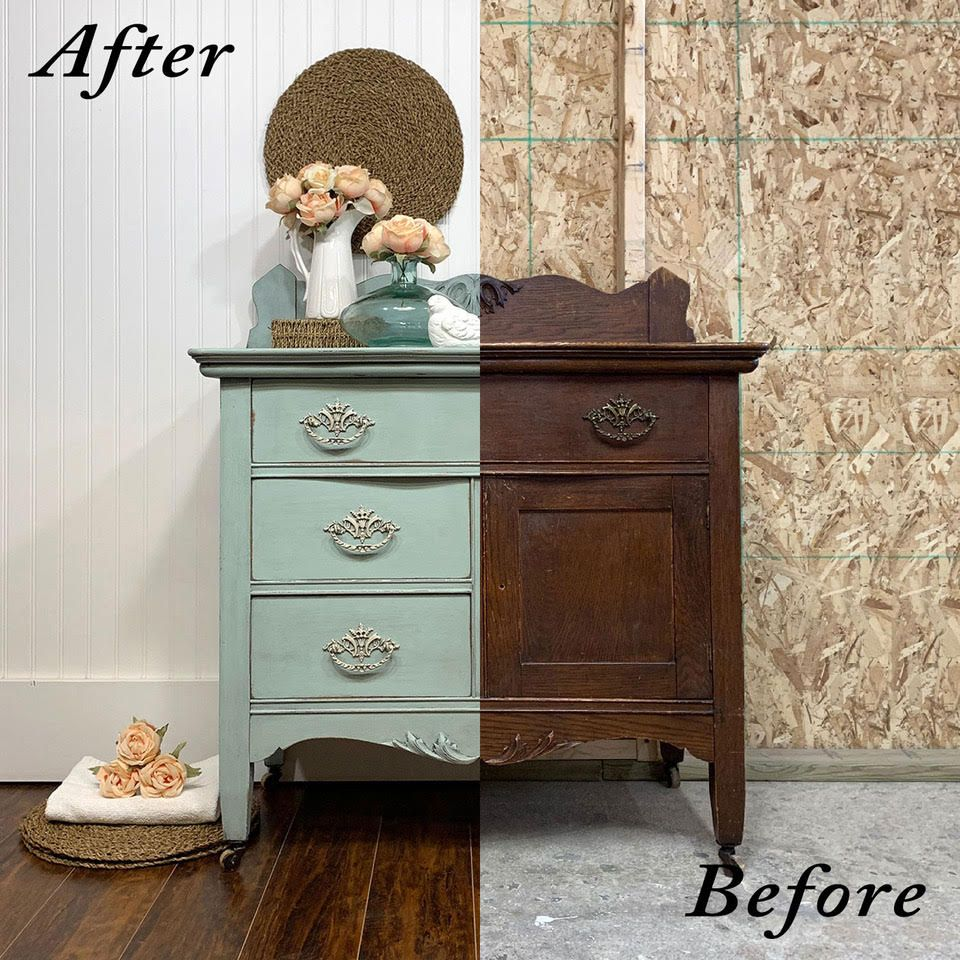 Pretty Blue Antique Washstand Before And After Country Chic Paint Blog Furniture White Furniture Living Room Painted Furniture For Sale
