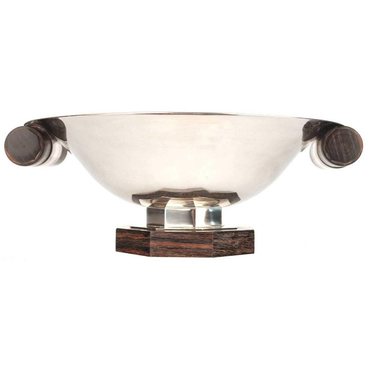 Unique Decorative Bowls French Art Deco Silver Plate Bowl With Rosewood Accents 1930S