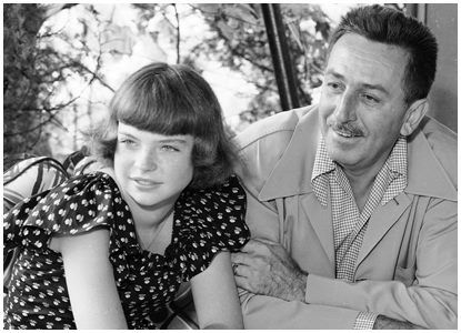 Walt Disney with his daughter, Sharon.