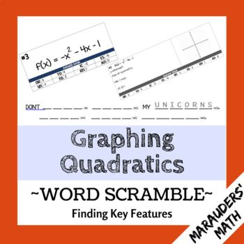 In This Activity Students Calculate Key Features Of Quadratic