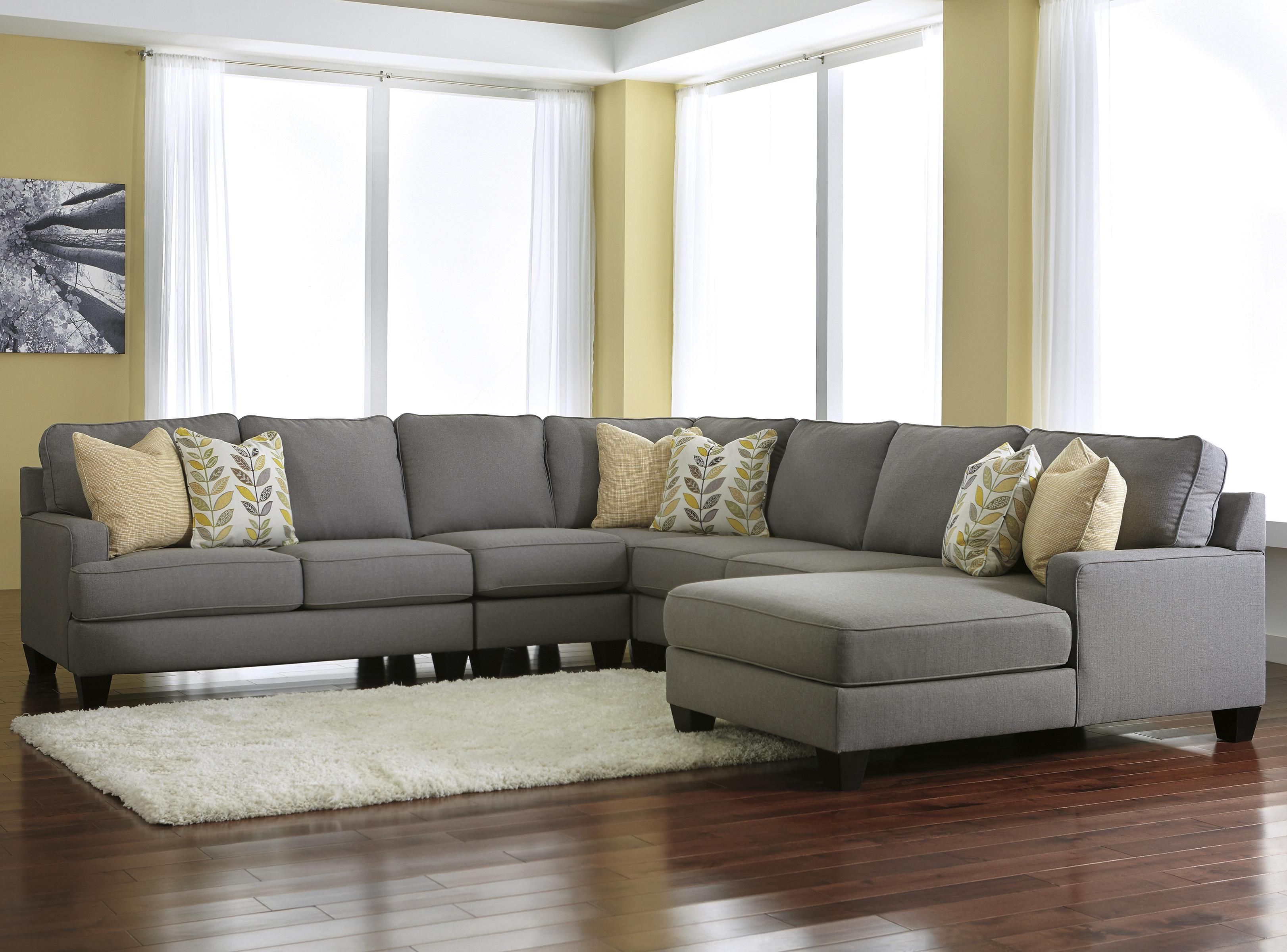 Chamberly Alloy 5 Piece Sectional Sofa With Right Chaise By Signature Design By Ashley I Want This Sectiona Living Room Sectional Furniture Ashley Furniture
