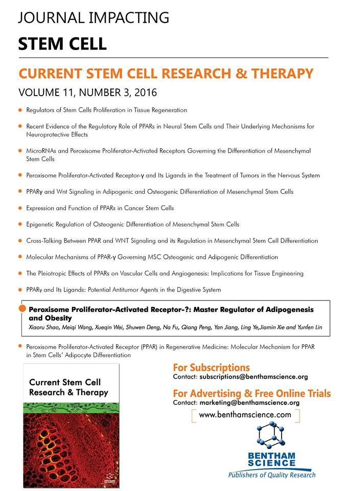 "highlighted article flyer for the journal ""current stem cell  highlighted article flyer for the journal ""current stem cell research therapy"""