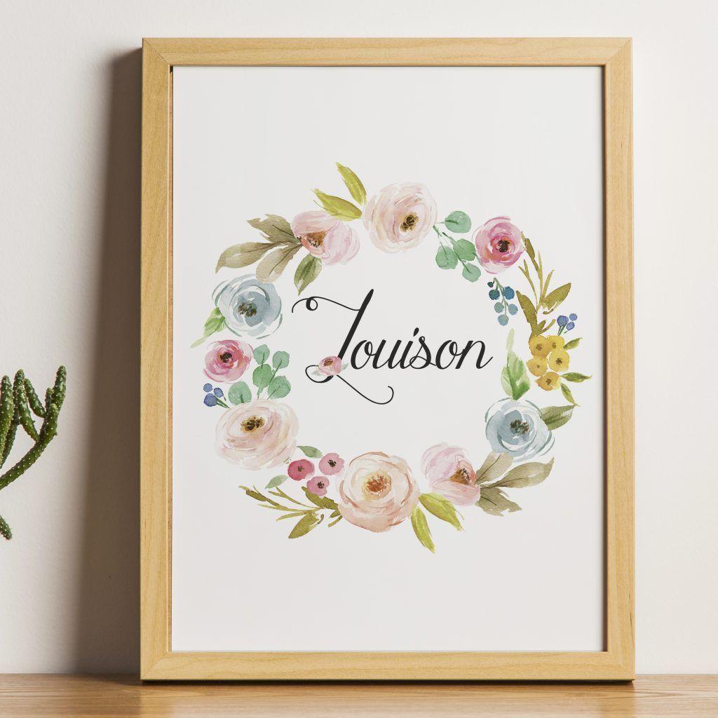 Affiche Personnalisee Couronne De Fleurs Peinture Chambre