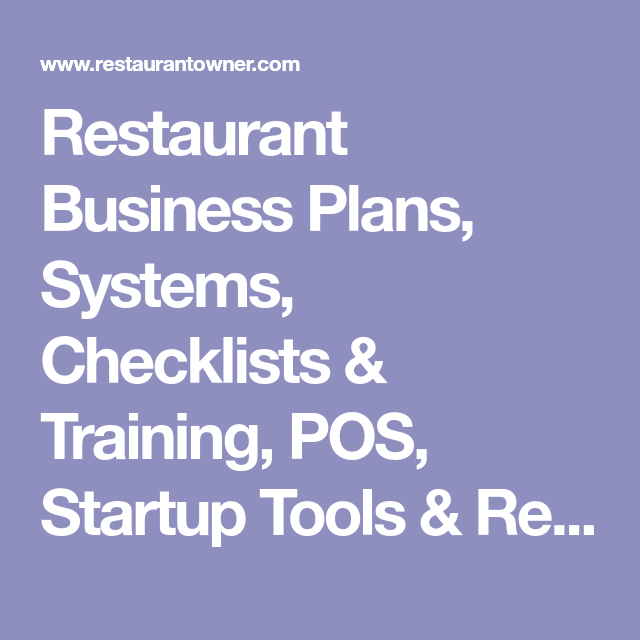 Restaurant Business Plans Systems Checklists  Training Pos