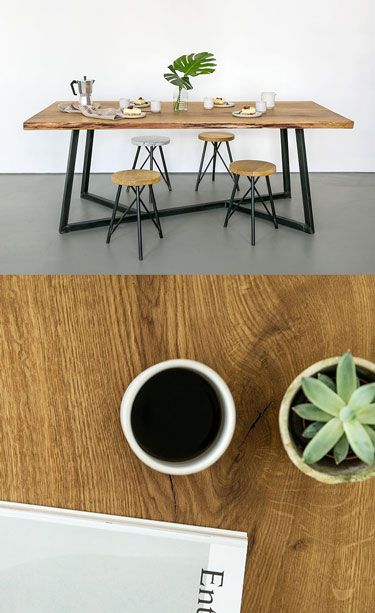 Nutsandwoods oak steel table home sweet home pinterest mesas muebles y mesa industrial - Sweet home muebles ...