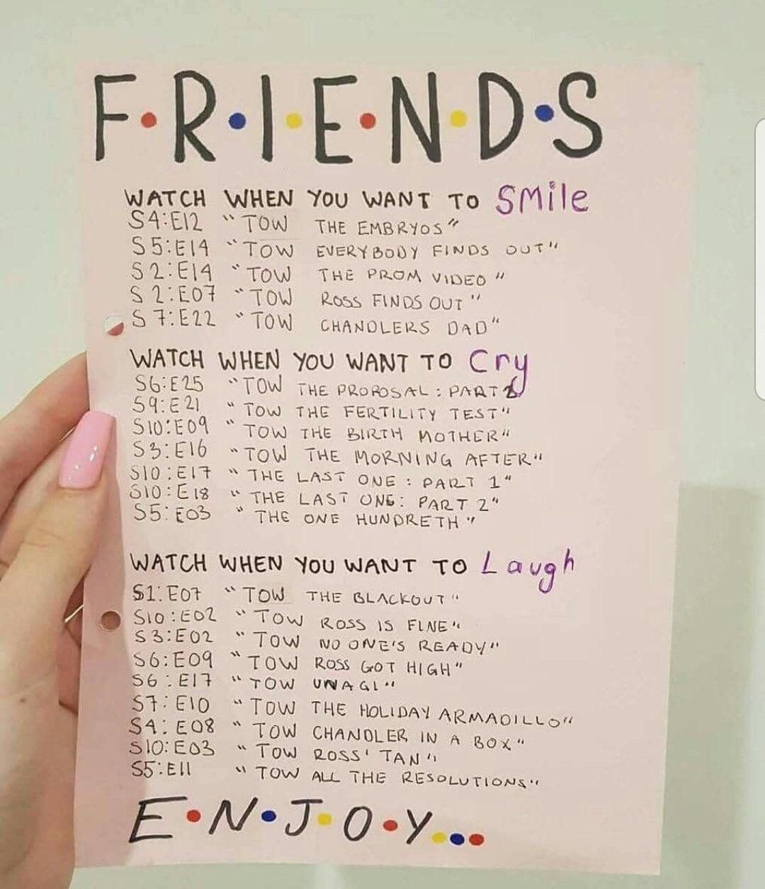 Guide for Friends episodes to watch