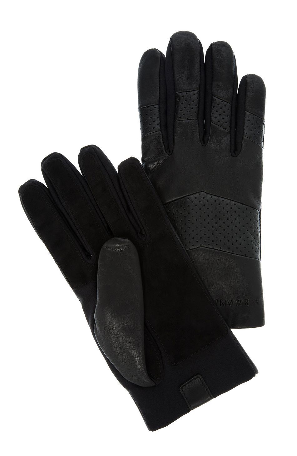 Armani exchange black leather gloves - Perforated Leather Glove Accessories Shop Mens Armani Exchange