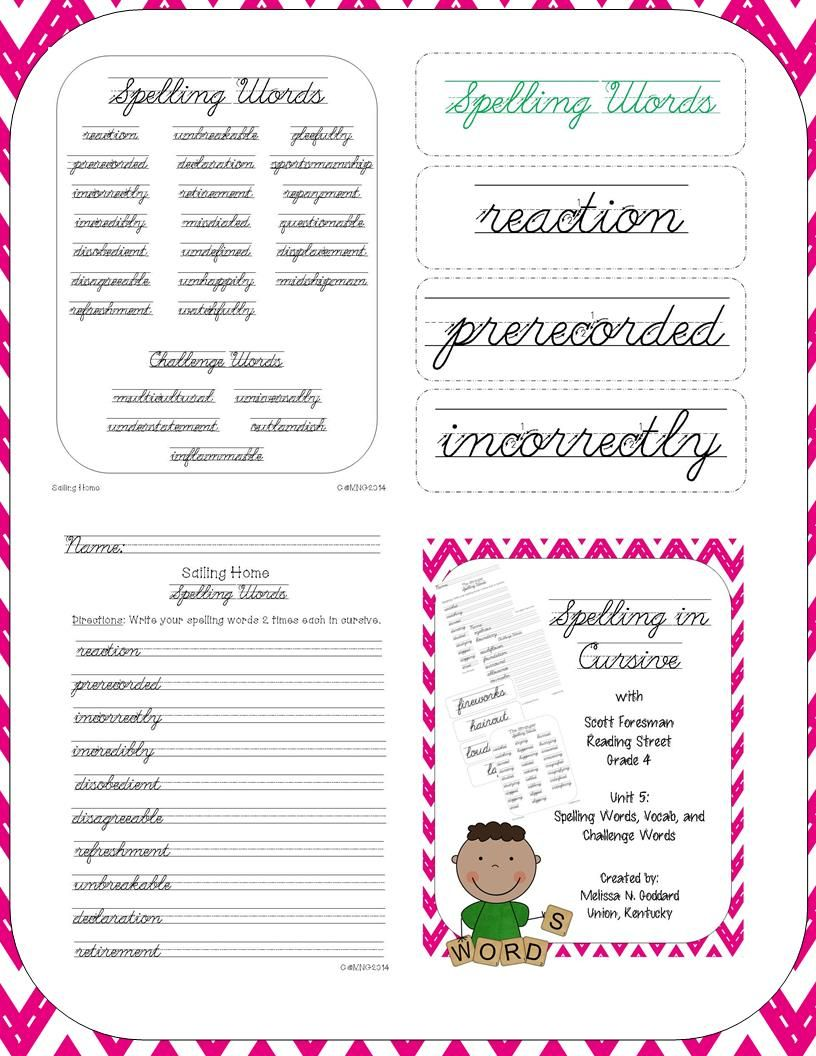 Cursive spelling reading street fonts and writing pinterest scott foresman reading street grade 4 but could be used with 3rd 6th httpteacherspayteachersproductcursive spelling reading street 1102032 fandeluxe Images
