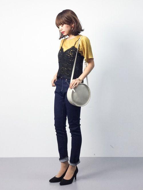 erikoさんの「レースキャミ×プリーツTシャツSET(PAGEBOY)」を使ったコーディネート