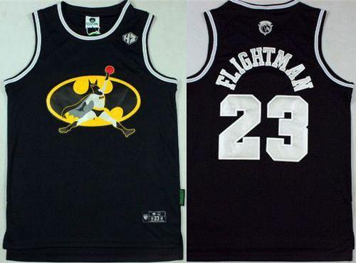 Bulls #23 Michael Jordan Black FlightMan Stitched NBA Jersey   Nba
