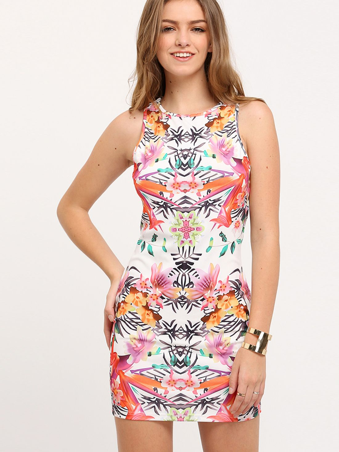 ¡Cómpralo ya!. Multicolor Sleeveless Flower Floral Print Dress. Multicolor Sexy Polyester Round Neck Sleeveless Sheath Short Floral Fabric has no stretch Spring Tank Dresses. , vestidoinformal, casual, informales, informal, day, kleidcasual, vestidoinformal, robeinformelle, vestitoinformale, día. Vestido informal  de mujer   de SheIn.