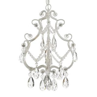 Gallery Mini 4-light White Floral Crystal Chandelier | Overstock ...