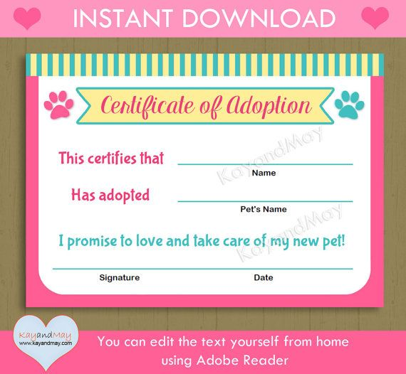 Printable pet adoption certificate animal theme party cat dog its fun and easy to personalize these cute pet adoption certificates yourself from home instant yadclub