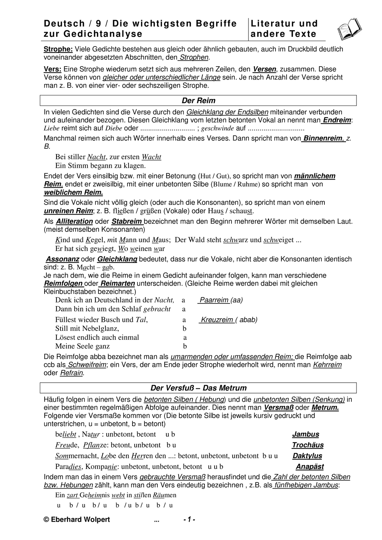 Die Wichtigsten Begriffe Fur Die Gedichtanalyse Fur Klasse 8 Oder 9 Unterrichtsmaterial Im Fach Deutsch In 2020 Gedicht Analyse Deutsch Nachhilfe Lernen Tipps Schule