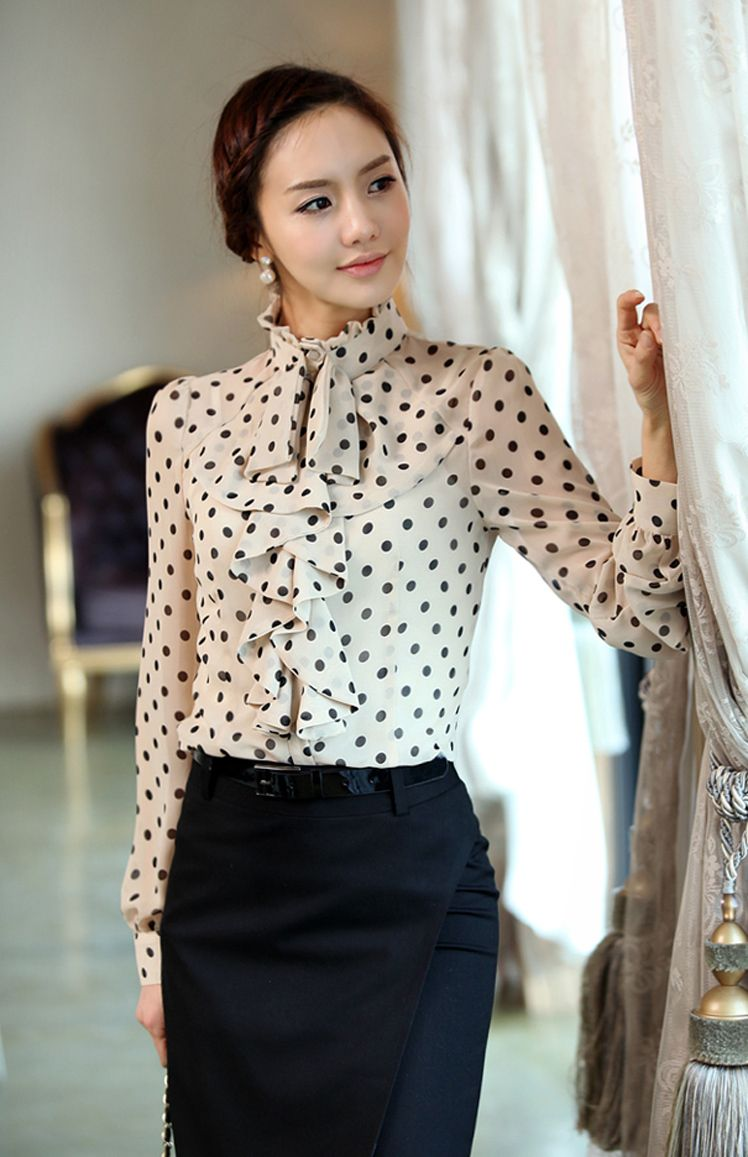 Summer chiffon blouse with polka dots things to wear pinterest
