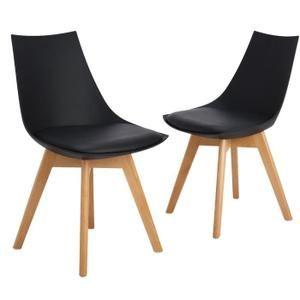 2 chaises salle manger design scandinave noires - Chaise Salle A Manger Design 2